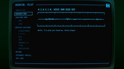 Visual of the MIRVIN screen in Terminal Conflict