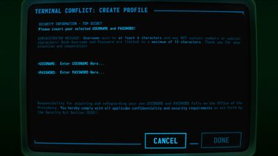 Visual of 'Profile' screen in Terminal Conflict