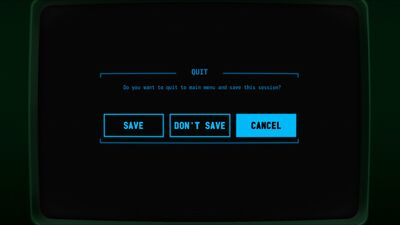 Visual of the 'Quit' screen within Terminal Conflict