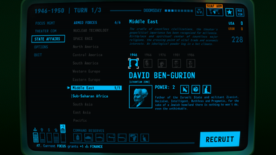 Visual of the Recruitment Screen within Terminal Conflict