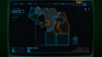 Visual of Influence of factions on the map within Terminal Conflict