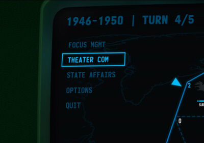 Visual of the 'Menu' in the left field of the screen in Terminal Conflict