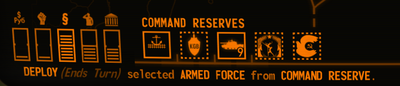 Visual of the Command Reserve and Policy section of the screen within Terminal Conflict