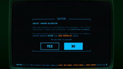 Visual of the Warzone declaration pop-up message within Terminal Conflict