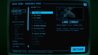 Visual of the Single Player options screen within Terminal Conflict
