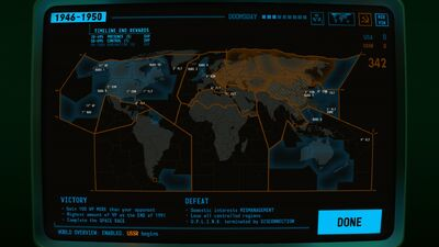 Visual of the World Map screen within Terminal Conflict
