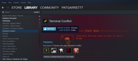 Visual on the install screen (via Steam) of Terminal Conflict