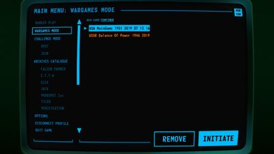 Visual of the 'Load' Screen within Terminal Conflict