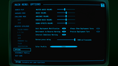 Visual of the 'Options' screen in Terminal Conflict