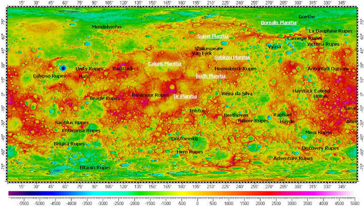 This map is taken from MESSENGER, a spacecraft that is sent to Mercury. Red, magenta and white areas are the highest points while blue and purple are the lowest. The water will pool on the surface on the green, blue and purple areas.