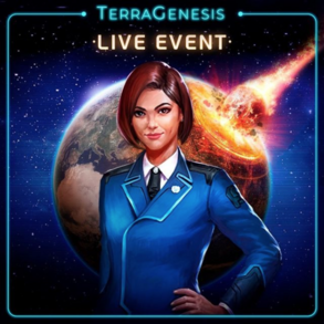 Layla in UNSA uniform, standing in front of an image of the Earth being hit by a meteor.