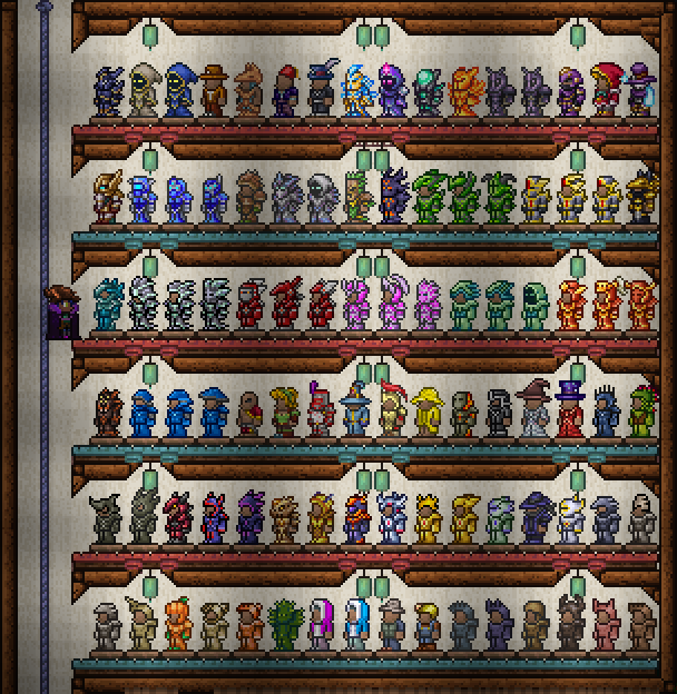 Вся существующая броня в версии 1.3.5.3 (Включая ту, что не даёт бонусов от сета и немного одежды).