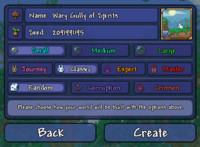 The world creation screen on the  Desktop version and  Mobile version