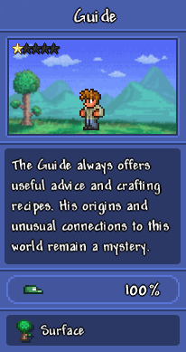"""A screenshot of the Guide against a Surface backdrop, as depicted in the Bestiary, with the description, """"The Guide always offers useful advice and crafting recipes. His origins and unusual connections to this world remain a mystery."""""""