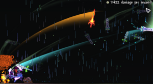 The Zenith shown attacking a Target Dummy, passing 70,000 DPS.