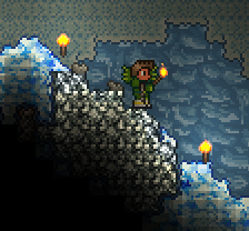 A player has found a group of Silver Ore in a Ice Cave