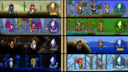 Dye Trader and Painter in the Desert. Merchant, Golfer, and Nurse in the Forest. Wizard and Party Girl in the Hallow. Witch Doctor and Dryad in the Jungle. Demolitionist and Tavernkeep in the Caverns. Angler and Pirate at the Ocean. Dryad and Truffle in the Underground Mushroom biome. Mechanic and Goblin Tinkerer in the Ice biome.