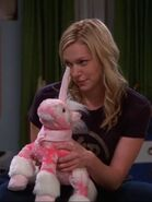Donna using Mr Fluffy Cakes as a puppet