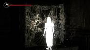 A memory of the daugher (white silhouette)