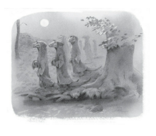 The dragons walking in the night, as seen by Galt