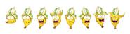 Squished banana renderings