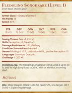 Fledgling Songdrake (Level 1) Statblock