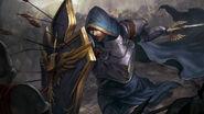 Warrior-soldier-shield-sword-arrows-weapons-armor-cape-hood