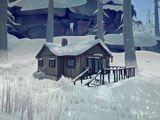 Большой дом с канадским флагом (с камином)