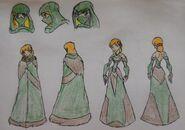 Anna Albright, cloak and formal dress