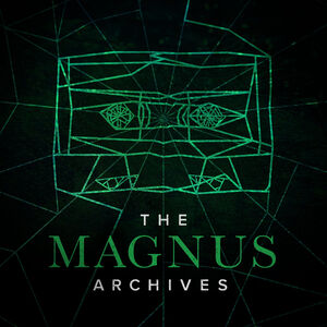 The Magnus Archives's logo, a stylised tape superimposed over a spiderweb.