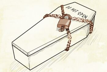 A coffin with Do Not Open written on the lid. It is wrapped in chains that are secured with a padlock.
