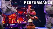 """T-Rex sings """"So What"""" by P!nk THE MASKED SINGER SEASON 3"""