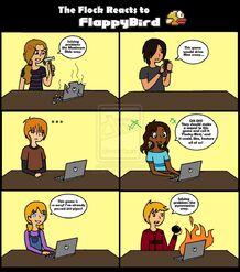 The flock reacts to flappy bird