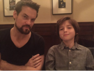 Shane West and Oliver Bell hanging out behind the scenes