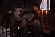 Sebastian & Devil at dinner table