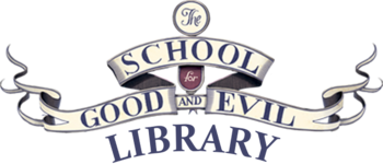The School for Good and Evil Library wordmark v1 dark version.png