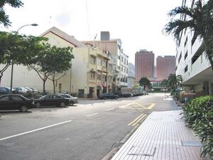 The row of shophouses along Upper Circular Road in which Club One Seven is nested.
