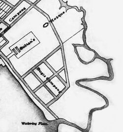 Singapore town plan dated 1822 depicting Sungei Rochor before the British re-routed/straightened the sharp bend.