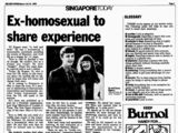 """Archive of """"Ex-homosexual to share experience"""", The New Paper, 18 March 1989"""