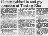 "Archive of The Straits Times article, ""12 men nabbed in anti-gay operation at Tanjong Rhu"", 23 Nov 1993"