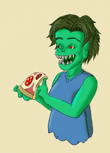 Snapjaw with pizza by GridCube