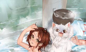 Erin,Lyon+Mrsha in bath by Girutea