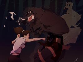 Erin minotaur punching Brunkr by pkay
