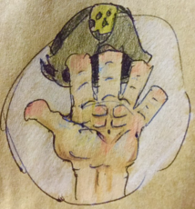 Pirateabs hands after writing training by Brack