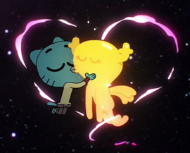 Gumball Watterson is kissing Penny Fitzgerald on The Shell.png