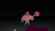 A pink guy holding a stop sign