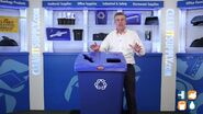 Danny Dillon with a Rubbermaid Glutton 46 gallon recycling station