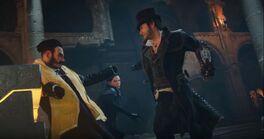 Evie y Jacob luchando juntos contra Starrick