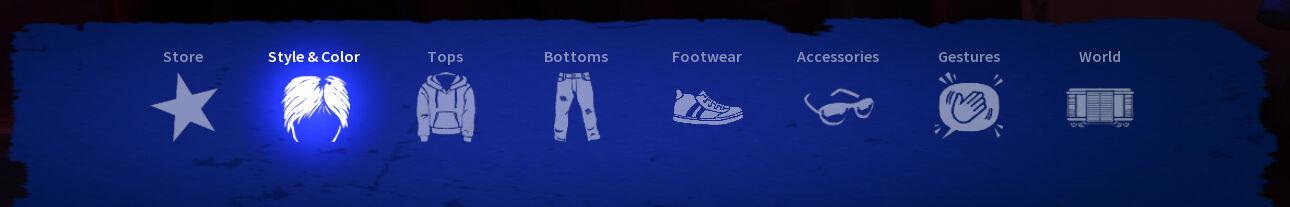 Wardrobe menu. Store, Style & Color, Tops, Bottoms,