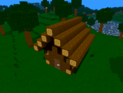 A small shack made of wood